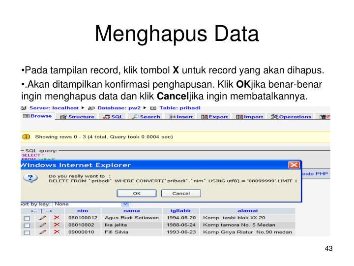Menghapus Data