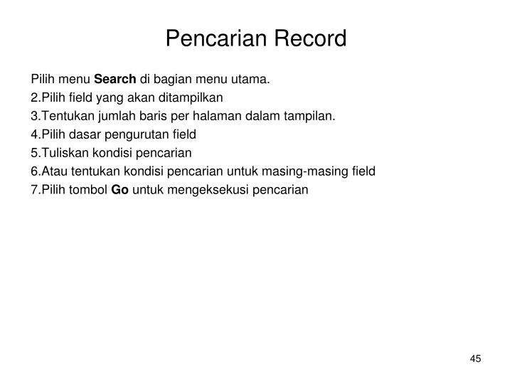 Pencarian Record