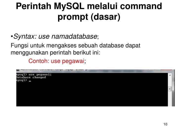 Perintah MySQL melalui command prompt (dasar)