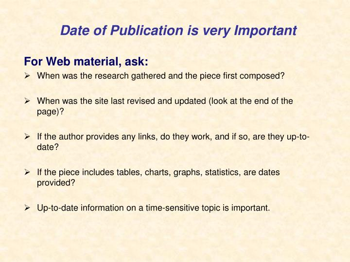 Date of Publication is very Important