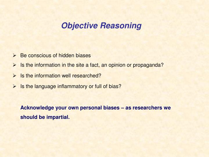 Objective Reasoning