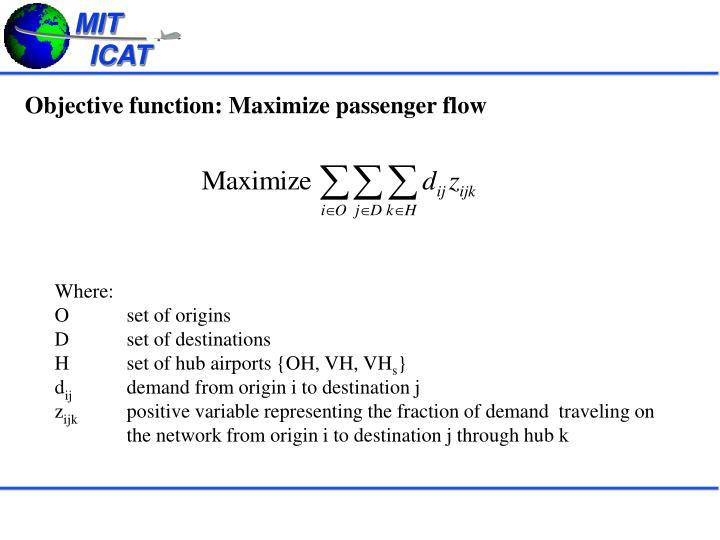 Objective function: Maximize passenger flow