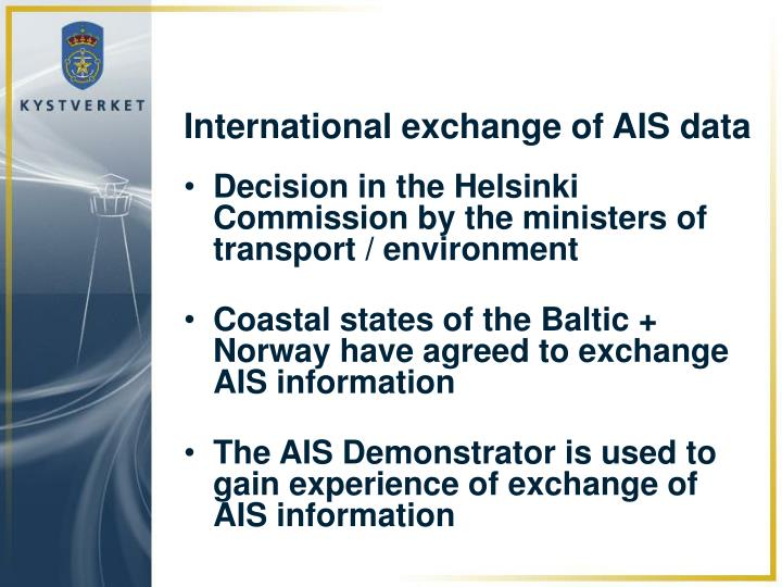 International exchange of AIS data