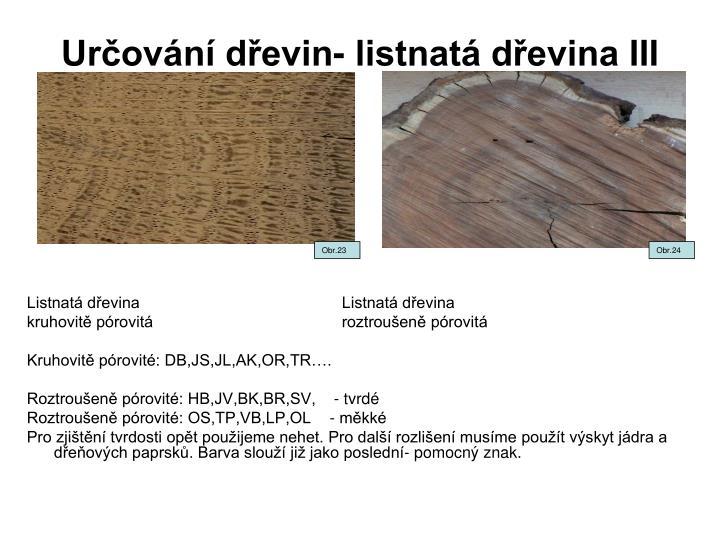 Určování dřevin- listnatá dřevina III