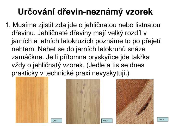Určování dřevin-neznámý vzorek