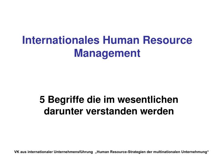 Internationales Human Resource