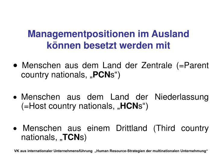 Managementpositionen im Ausland