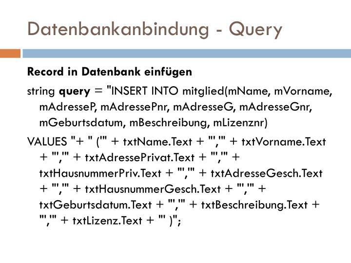 Datenbankanbindung - Query