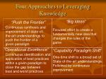 four approaches to leveraging knowledge