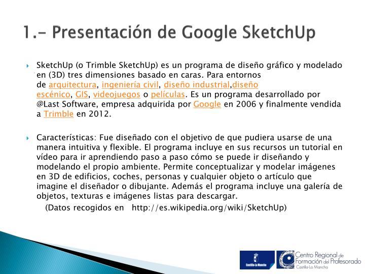 1.- Presentación de Google SketchUp