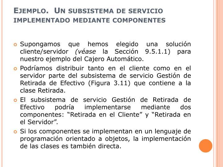 Ejemplo.  Un subsistema de servicio implementado mediante componentes