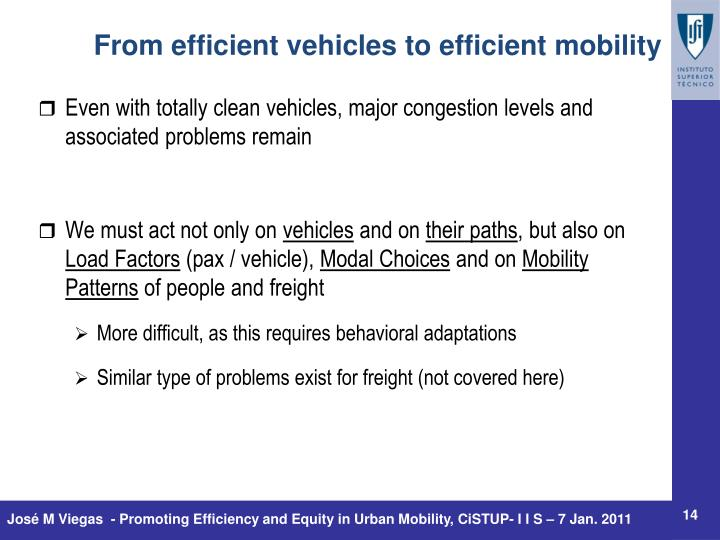 Even with totally clean vehicles, major congestion levels and associated problems remain