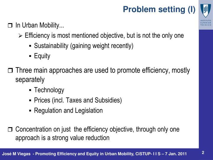 Problem setting (I)