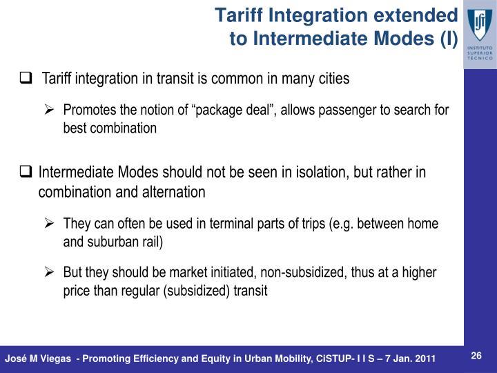 Tariff Integration extended