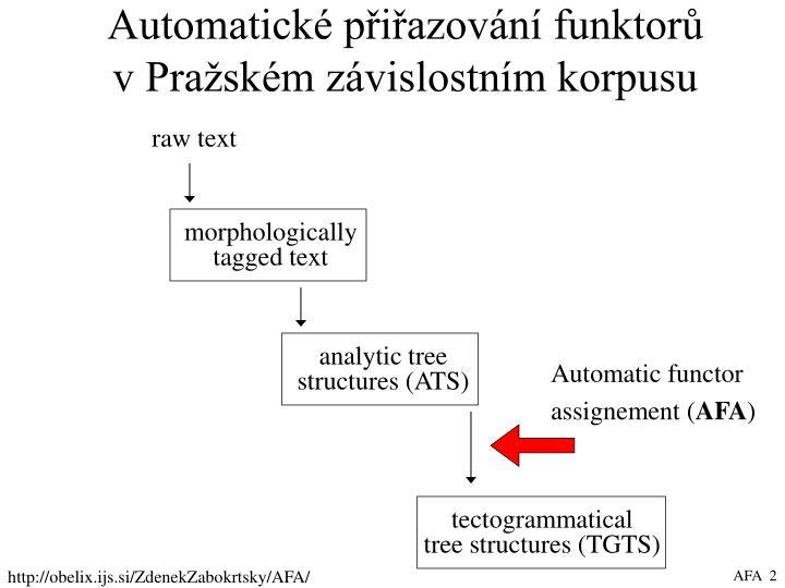 Automatické přiřazování funktorů