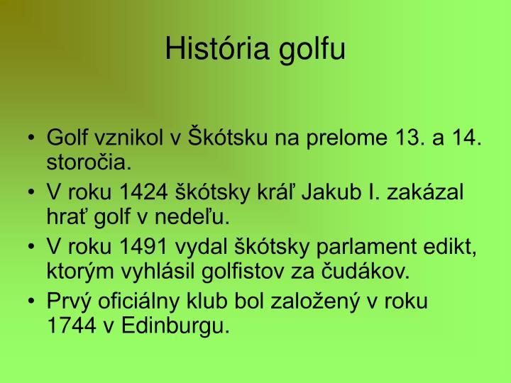 História golfu