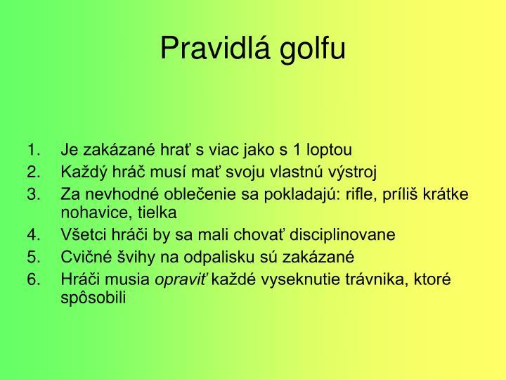 Pravidlá golfu