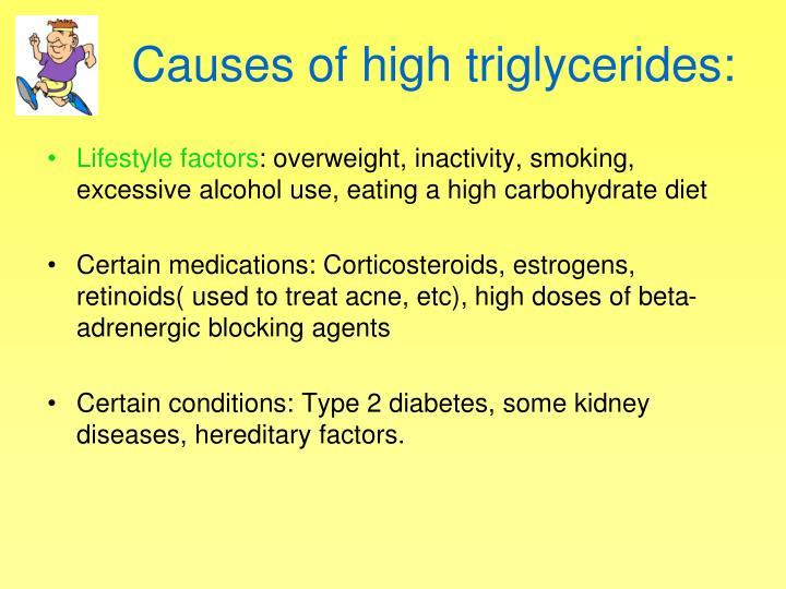 Causes of high triglycerides: