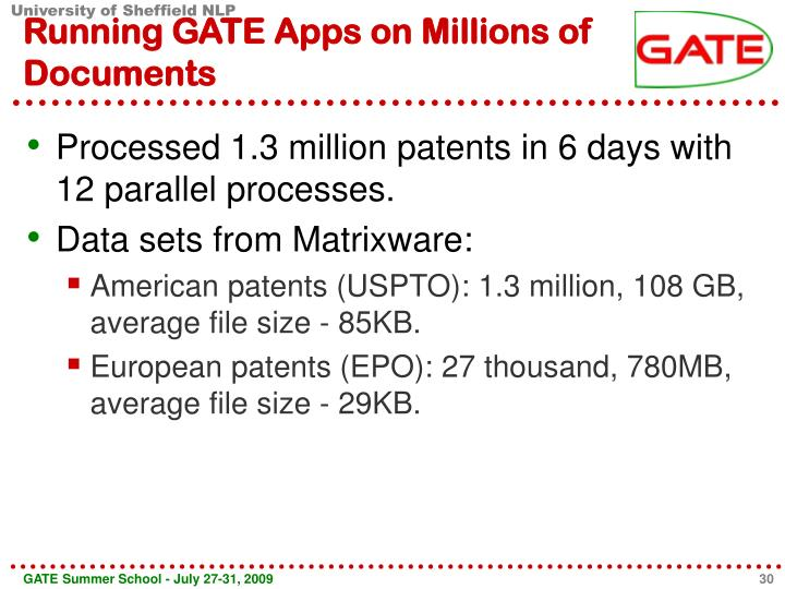 Running GATE Apps on Millions of Documents