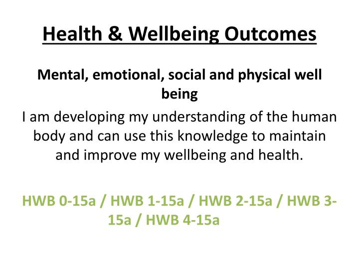 Health & Wellbeing Outcomes