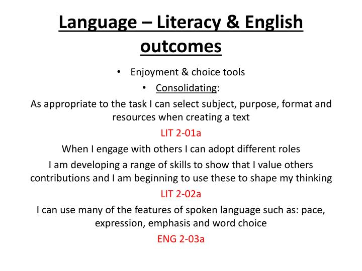 Language – Literacy & English outcomes