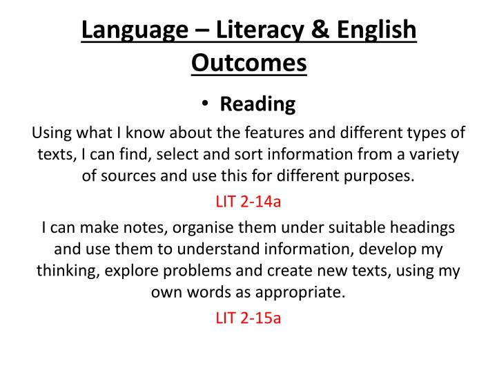 Language – Literacy &