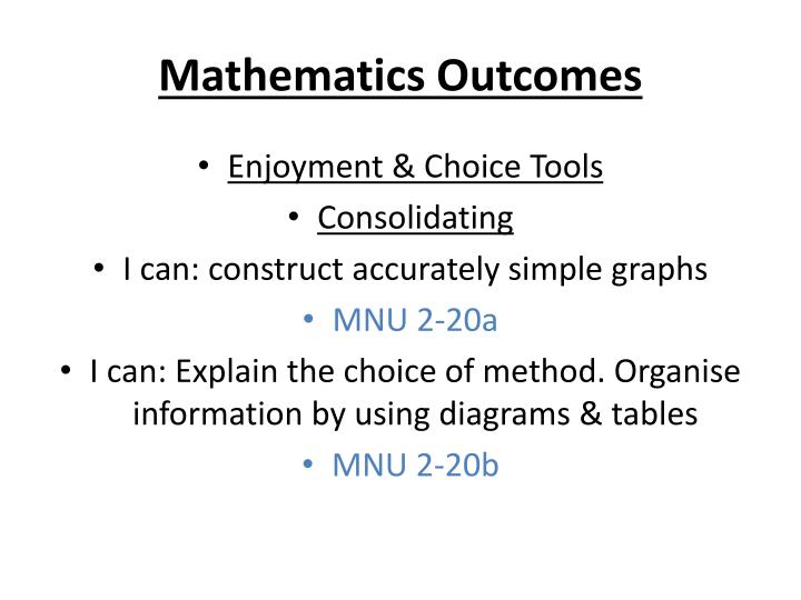 Mathematics Outcomes