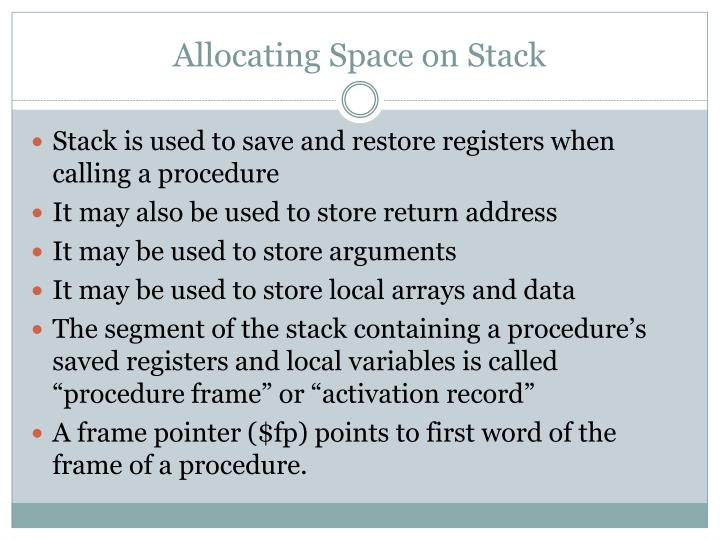 Allocating Space on Stack