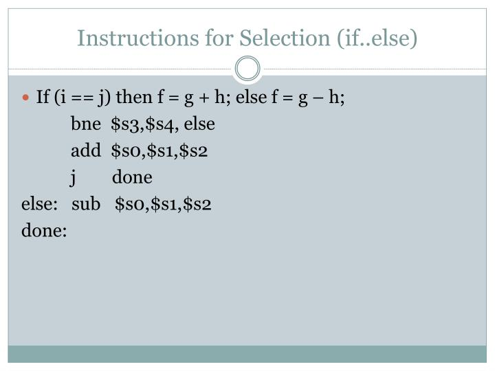 Instructions for Selection (if..else)
