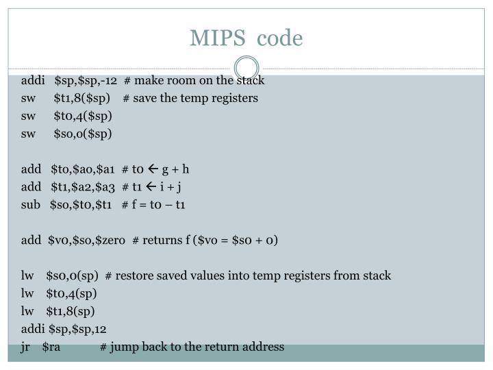 MIPS  code