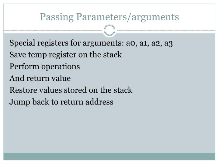 Passing Parameters/arguments