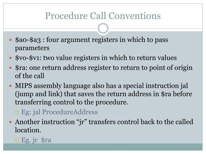 Procedure Call Conventions