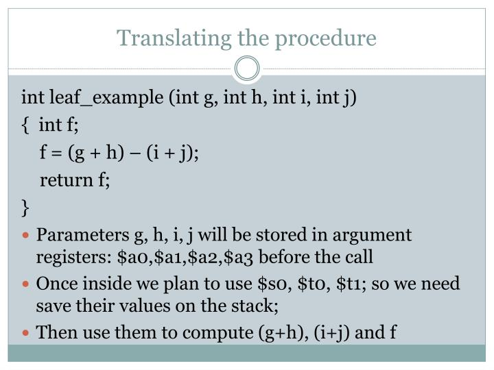 Translating the procedure