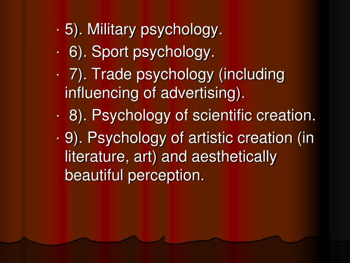 5). Military psychology.