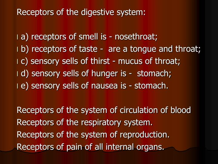 Receptors of the digestive system: