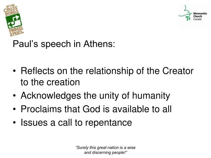 Paul's speech in Athens: