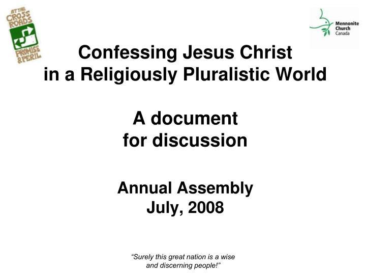 Confessing Jesus Christ