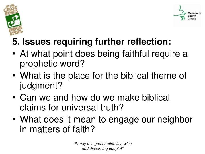 5. Issues requiring further reflection: