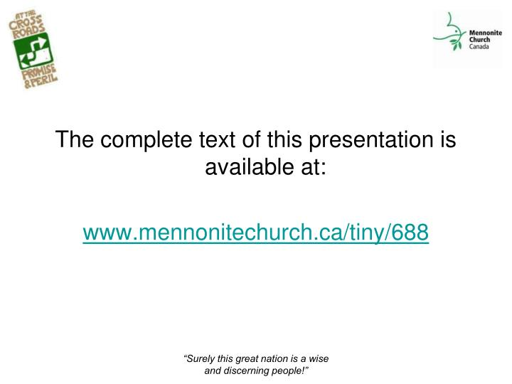 The complete text of this presentation is available at: