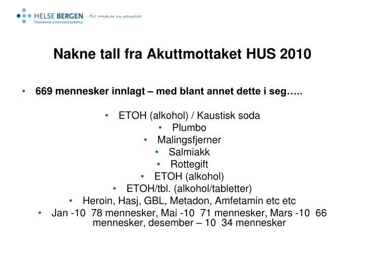 Nakne tall fra Akuttmottaket HUS 2010