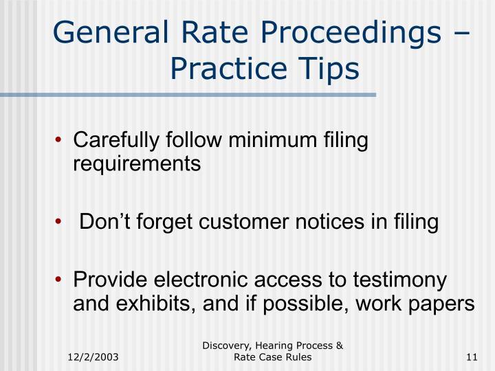 General Rate Proceedings –