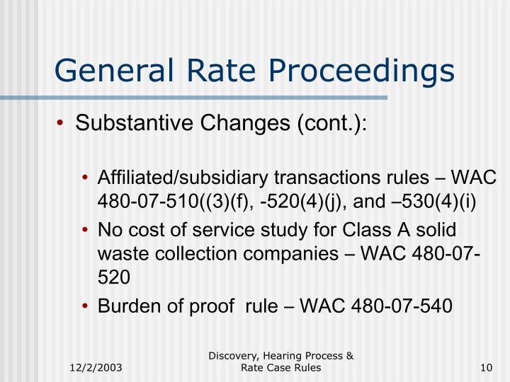 General Rate Proceedings