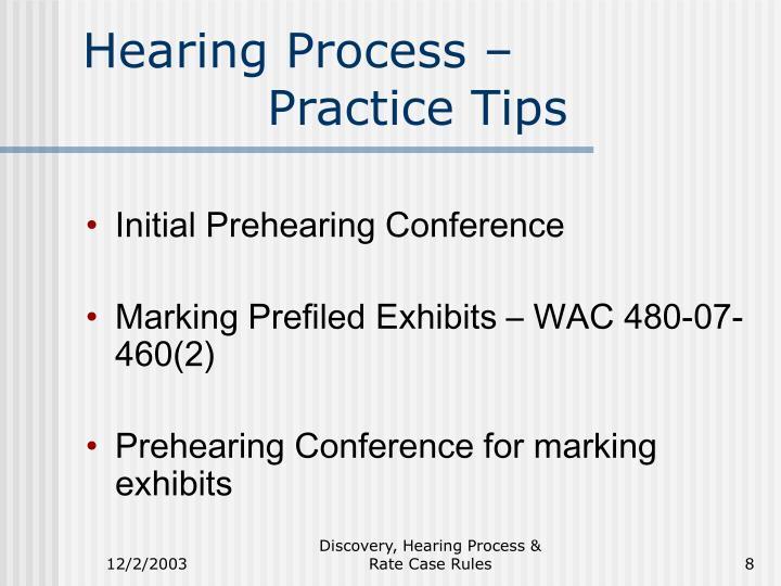 Hearing Process –