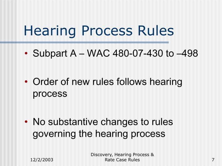Hearing Process Rules