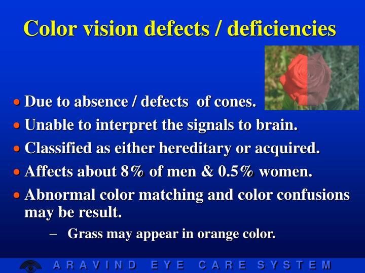 Color vision defects / deficiencies