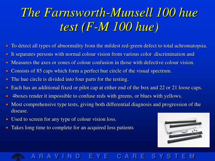 The Farnsworth-Munsell 100 hue test (F-M 100 hue)