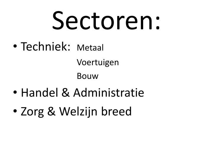 Sectoren: