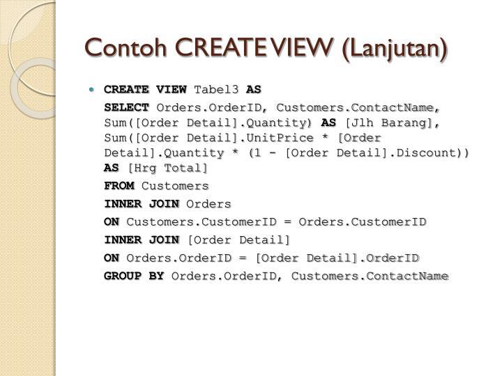 Contoh CREATE VIEW (Lanjutan)