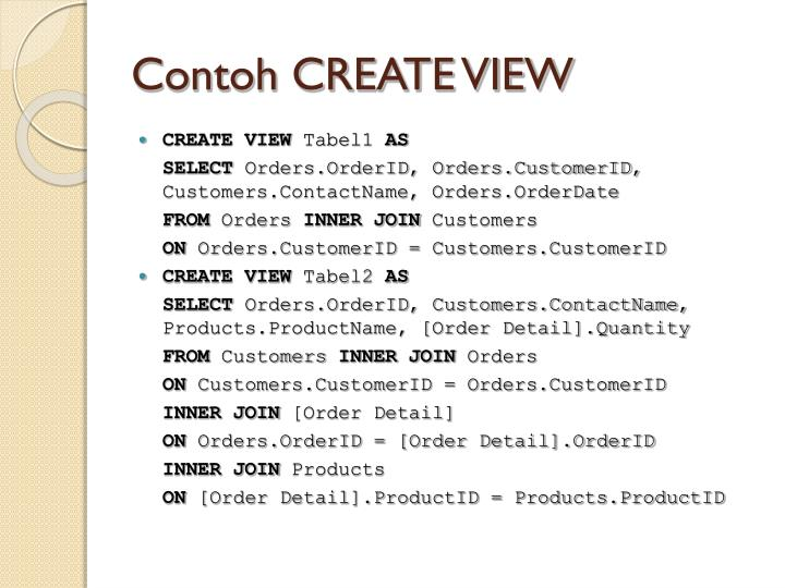 Contoh CREATE VIEW