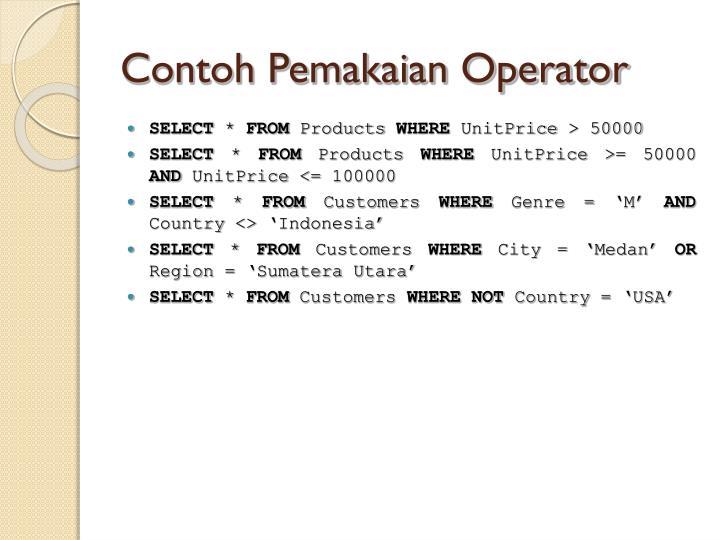 Contoh Pemakaian Operator